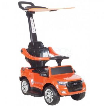 Περπατούρα αυτοκινητάκι Ford με λαβή γονέα και τέντα 5244003 Πορτοκαλί