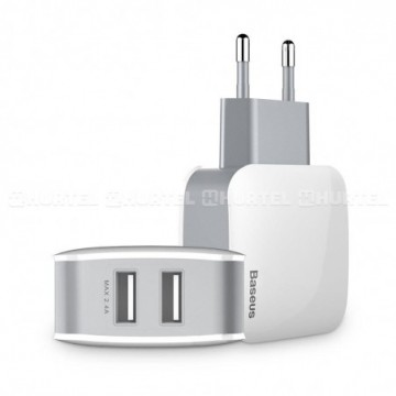 Baseus Letour Travel Charger Adapter 2x USB 2.4A white (ZCL2B-B02)
