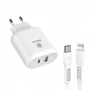 Baseus Bojure Series Travel Charger Adapter Wall Charger  1M white (TZTUN-BJ02)