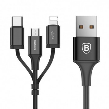 Baseus Excellent 3in1 USB - micro USB / Lightning / USB-C Cable 2A 1.2M black (CA3IN1-ZY01)