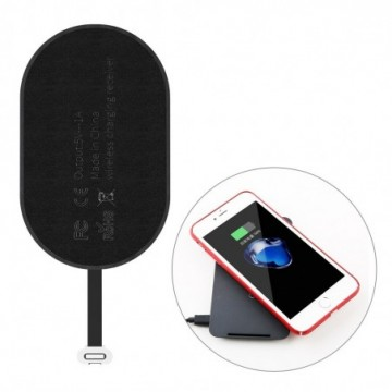 Baseus Microfiber Wireless Charging Receiver QI Receiver with Lightning Plug black (WXTE-A01)