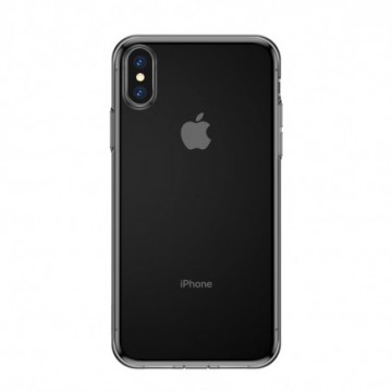 Baseus Simplicity TPU Case Flexible Cover with  Plug for iPhone XS Max transparent black (ARAPIPH65-A01)