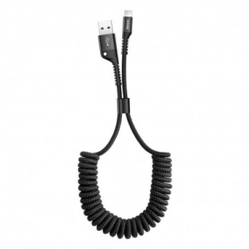 Baseus Fish Eye Spring Data Cable with Nylon Wire USB / Lightning 1M 2A black (CALSR-01)