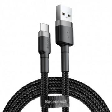 Baseus Cafule Cable Durable Nylon Braided Wire USB / USB-C QC3.0 3A 1M black-grey (CATKLF-BG1)