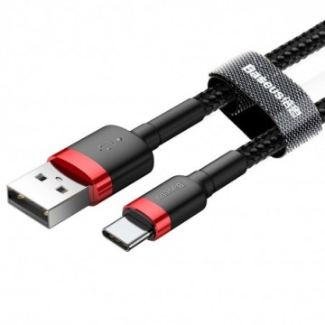 Baseus Cafule Cable Durable Nylon Braided Wire USB / USB-C black-red 2m (CATKLF-C91)