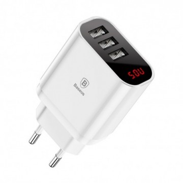 Baseus Mirror Lake Intelligent Travel Charger Adapter  3.4A white (CCALL-BH02)