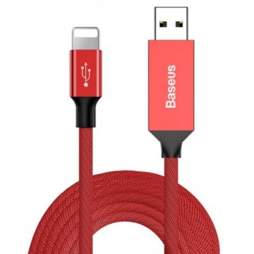 Baseus Artistic USB / Lightning Cable with Material Braid 5M Quick Charge 3.0 QC 3.0 red (CALYW-M09)