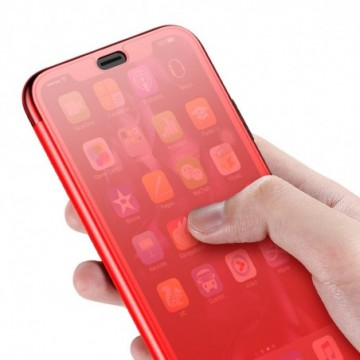 Baseus Touchable Case TPU Flip Cover with Tempered Glass Front Panel for iPhone XS / X red (WIAPIPH58-TS09)