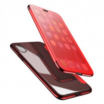 Baseus Touchable Case TPU Flip Cover with Tempered Glass Front Panel for iPhone X red (WIAPIPHX-TS09)