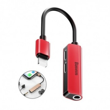 Baseus 3-in-1 iP Male to Dual iP & 3.5mm Female Adapter L52 Red-black (CALL52-91)