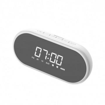 Baseus Encok E09 Stylish Portable Wireless Bluetooth Speaker with alarm clock and LED lamp white (NGE09-02)