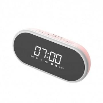 Baseus Encok E09 Stylish Portable Wireless Bluetooth Speaker with alarm clock and LED lamp pink (NGE09-04)
