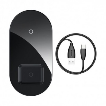 Baseus Simple 2in1 Qi Charger for Smartphones and AirPods 15W black (WXJK-01)