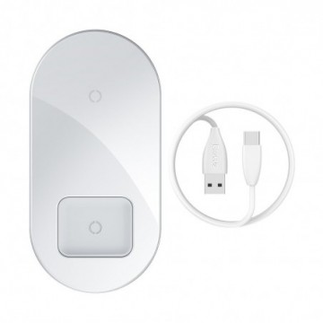 Baseus Simple 2in1 Qi Charger for Smartphones and AirPods 15W white (WXJK-02)