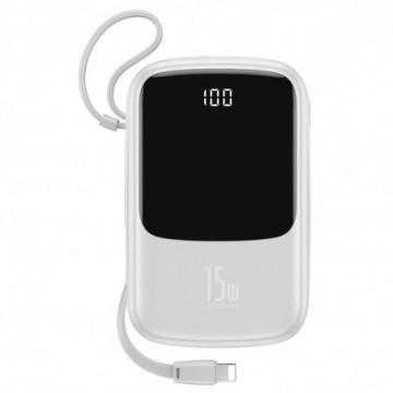 Baseus Q pow power bank 10000mAh 3A 15W 2x USB / USB Typ C + built in Lightning cable white (PPQD-B02)