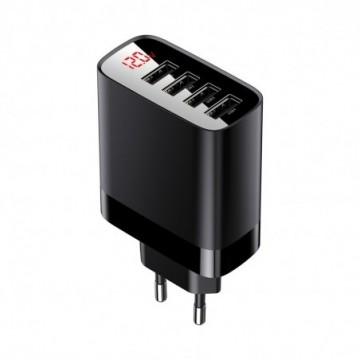 Baseus Mirror Lake Digital Display 4x USB Travel Charger 30W 6A EU black (CCJMHB-B01)