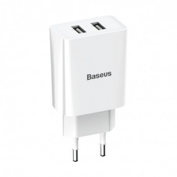Baseus wall charger adapter 2x USB 2.1A 10,5W white (CCFS-R02)