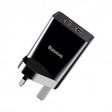Baseus wall charger UK adapter 2x USB 2.1A 10,5W black (CCFS-S01)
