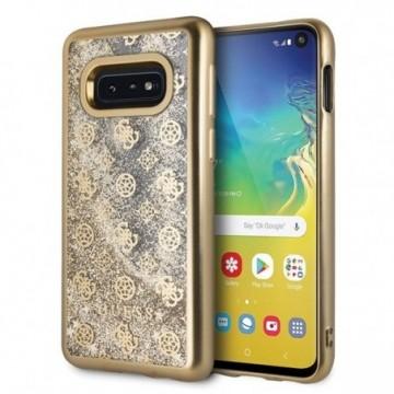 Guess GUHCS10LPEOLGGO S10e G970 gold hard case 4G Peony Liquid Glitter