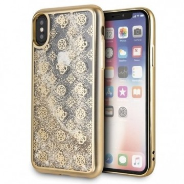 Guess GUHCPXPEOLGGO iPhone X/Xs gold hard case 4G Peony Liquid Glitter