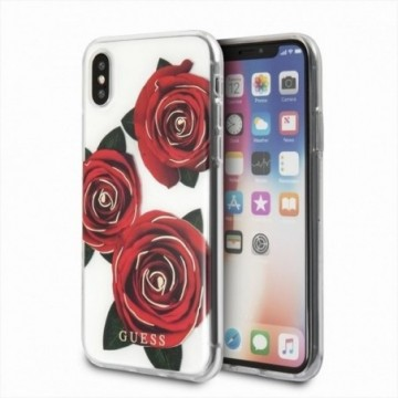 Guess GUHCPXROSTR iPhone X transparent hard case Flower Desire red rose