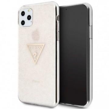 Guess GUHCN65SGTLPI iPhone 11 Pro Max pink hard case Glitter Triangle