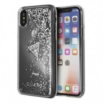 Guess GUHCPXGLUFLSI iPhone X silver case Glitter Liquid
