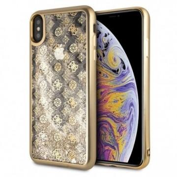 Guess GUHCI65PEOLGGO iPhone Xs Max gold hard case 4G Peony Liquid Glitter