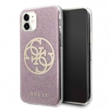 Guess GUHCN61PCUGLPI iPhone 11 pink hard case 4G Circle Glitter