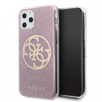 Guess GUHCN65PCUGLPI iPhone 11 Pro Max pink hard case 4G Circle Glitter