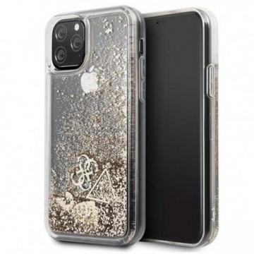 Guess GUHCN58GLHFLGO iPhone 11 Pro gold hard case Glitter Hearts