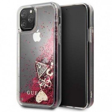 Guess GUHCN58GLHFLRA iPhone 11 Pro raspberry hard case Glitter Hearts