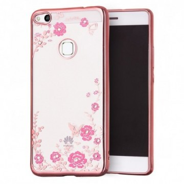 Bloomy Case Stylish Gel Case Flower Cover Huawei P9 Lite 2017 / P8 Lite 2017 / Honor 8 Lite / Nova Lite pink