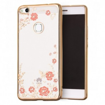 Bloomy Case Stylish Gel Case Flower Cover Huawei P9 Lite 2017 / P8 Lite 2017 / Honor 8 Lite / Nova Lite gold