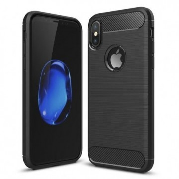 Carbon Case Flexible Cover Case for iPhone XS / X black