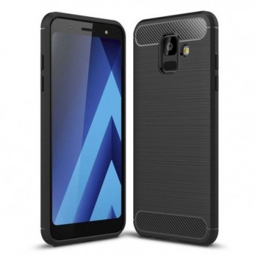 Carbon Case Flexible Cover Case for Samsung Galaxy A6 2018 A600 black