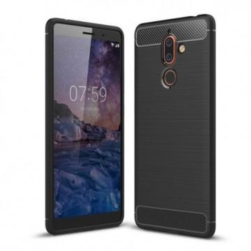 Carbon Case Flexible Cover Case for Nokia 7 Plus black