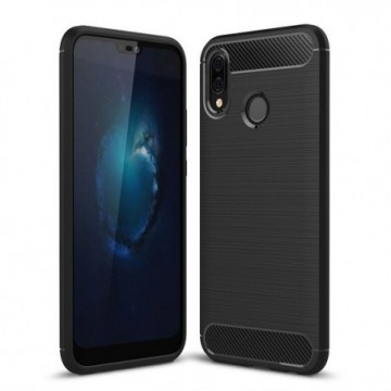 Carbon Case Flexible Cover Case for Huawei P20 Lite black