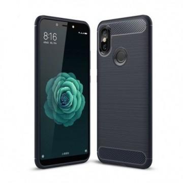 Carbon Case Flexible Cover Case for Xiaomi Mi A2 / Mi 6X blue