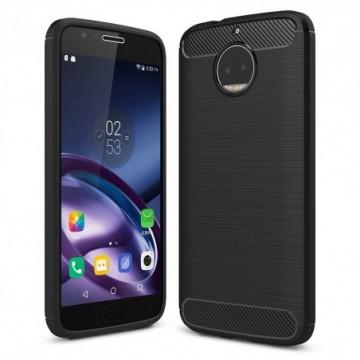 Carbon Case Flexible Cover Case for Motorola Moto G5S Plus black