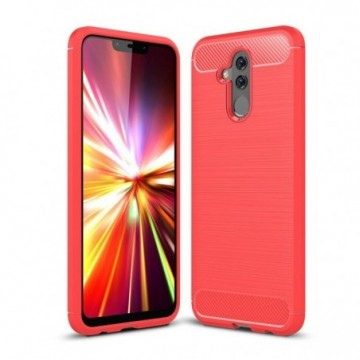 Carbon Case Flexible Cover Case for Huawei Mate 20 Lite red