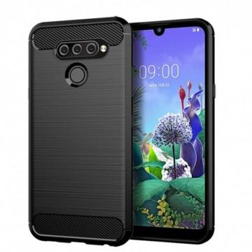 Carbon Case Flexible Cover Case for LG Q60 / LG K50 black