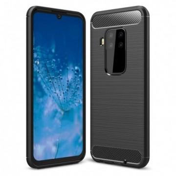Carbon Case Flexible Cover Case for Motorola Moto One Pro / Zoom black