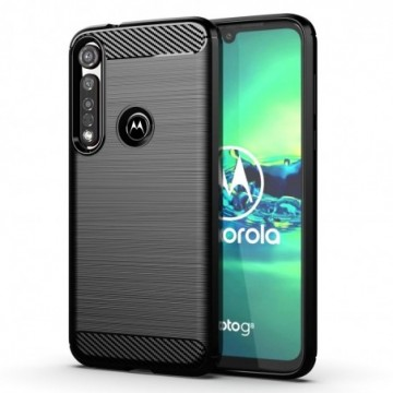 Carbon Case Flexible Cover Case for Motorola G8 Plus black