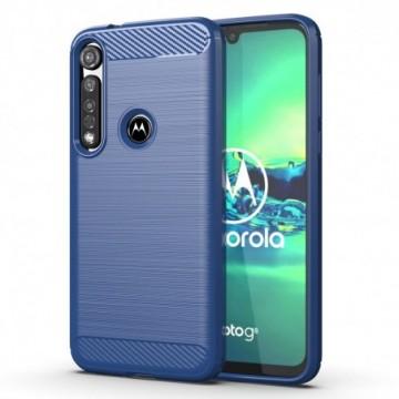 Carbon Case Flexible Cover Case for Motorola G8 Plus blue