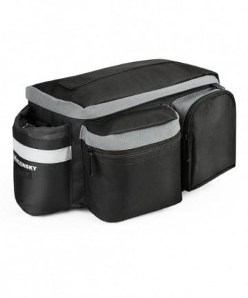 Wozinsky Bicycle Bike Pannier Bag Rear Trunk Bag with Shoulder Strap and Bottle 6L black (WBB3BK)