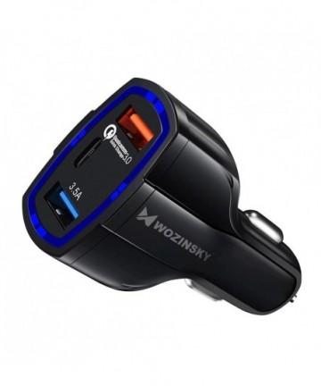 Wozinsky universal Car Charger 2x USB / USB Type C Quick Charge 3.0 QC3.0 black (WCC-01)