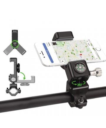 Adjustable phone bike mount holder for handlebar with copass black