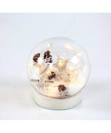 Χιονόμπαλα Μπαταρίας Αστέρια Γυάλινη 12cm X07101132 Aca