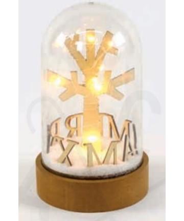 Led Χιονόμπαλα Μπαταρίας Πλαστική MERRY XMAS 10 Mini Leds Θερμό Λευκό IP20 Φ11x19cm X07101135 - Aca